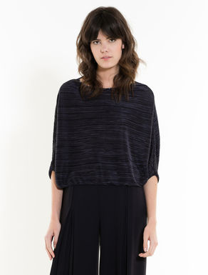 Pleated jersey batwing T-shirt