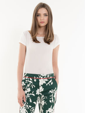 Silk and jersey T-shirt with bow