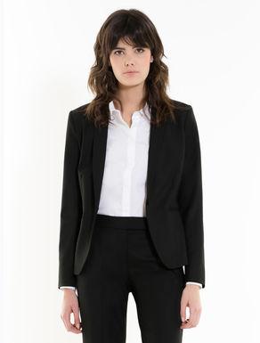 Slim-fit stretch fabric blazer
