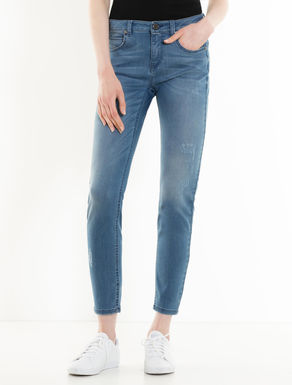 Skinny light stone-washed jeans