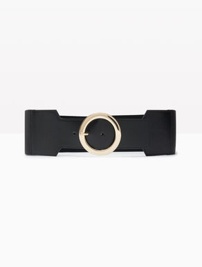 Wide elastic and leather belt