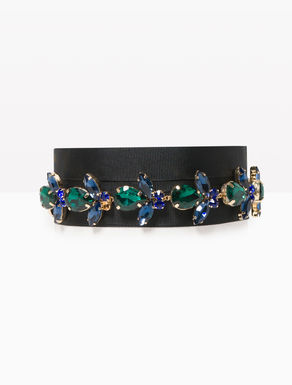 Necklace belt with rhinestones