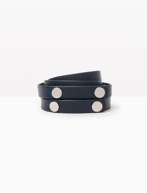 Double nappa belt with studs