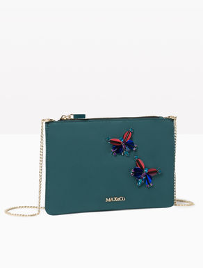 Satin clutch with jewel embroidery