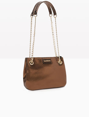 Mini laminated leather shoulder bag