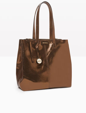 Laminated leather shopper bag