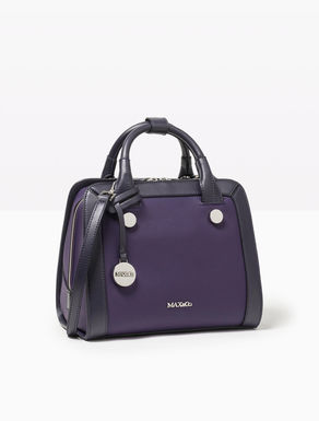 Tone-on-tone leather Boston bag