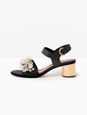 Midi-heel sandals with beading