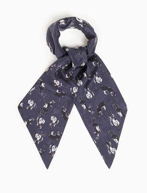 Skinny printed silk scarf