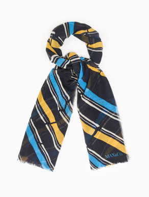 Striped wool gauze scarf