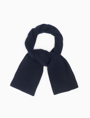 Ribbed wool/cashmere scarf
