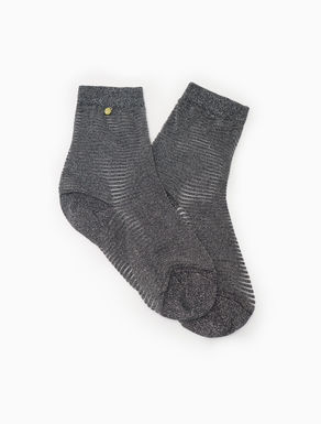 Striped lamé socks