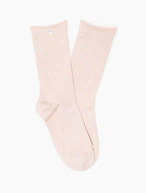 Ribbed lamé socks