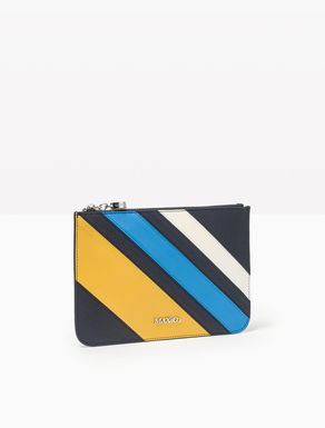 Leather colour-block envelope purse