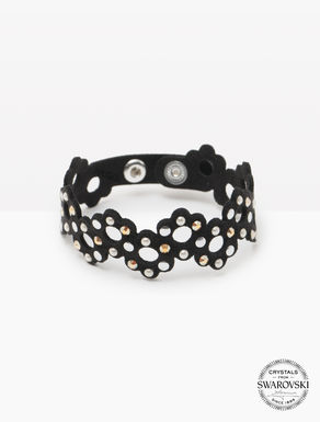 Alcantara bracelet with crystals