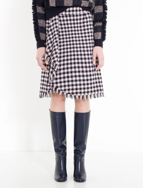 Flounced checked skirt with fringe