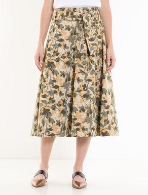 Printed gabardine midi skirt