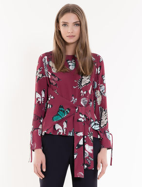 Crêpe fabric blouse with bow