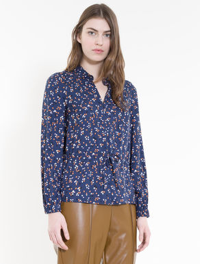 Twill blouse with drawstring