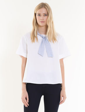 A-line blouse in stretch poplin