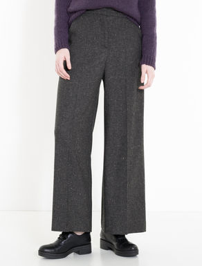 Wide-fit trousers in tweed flannel