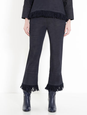 Fringed denim trousers