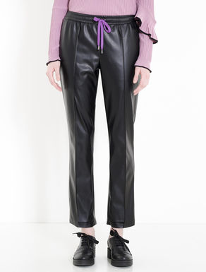 Coated jersey trousers