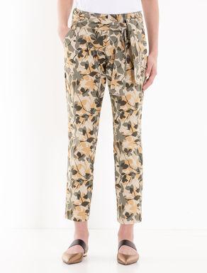 Gabardine carrot-fit trousers