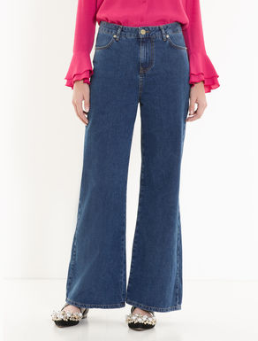 Faded wide-fit jeans