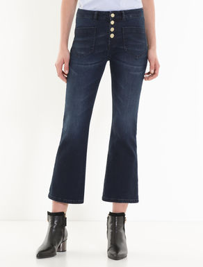 Black-blue kick-flare jeans