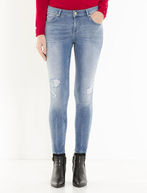 Skinny-fit jeans with rips
