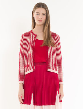 Cardigan with 3D stripes
