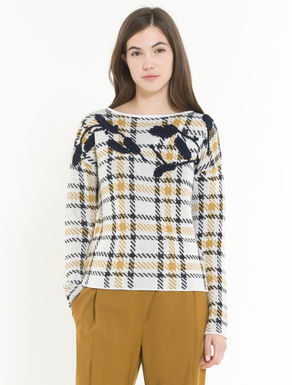 Embellished check jacquard sweater