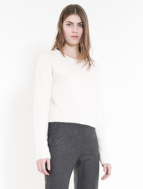Fluffy stretch cotton sweater