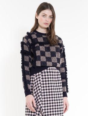 Jacquard sweater with fringe