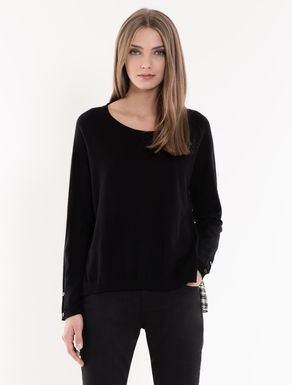 Jumper with panel in sablé fabric