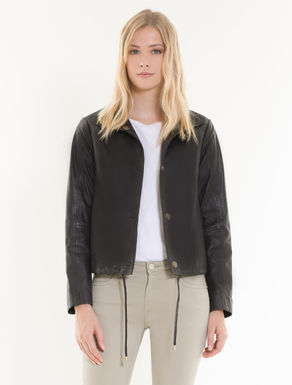 Leather jacket with drawstring