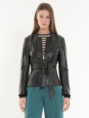 Slim leather jacket.