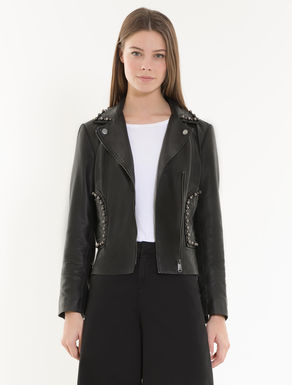 Leather biker jacket with beads