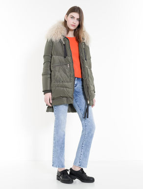 Multi-zip down jacket with overlapping
