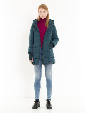 Cocoon down jacket with knitted cuffs