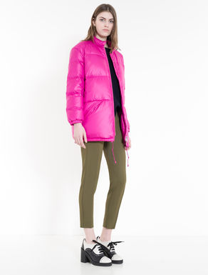 Satin-effect oversize down jacket