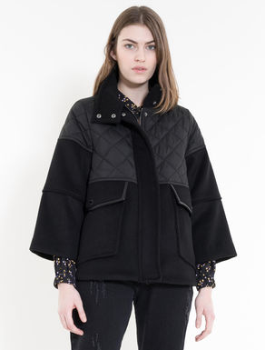 Drap and technical-fabric jacket