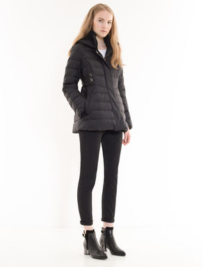 Fit & flare down jacket with ribbons