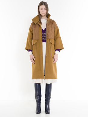 Drap and technical-fabric coat