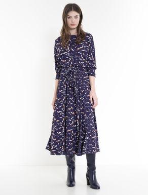 Foliage-print jersey dress