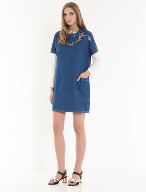 Denim-effect dress with embroidery