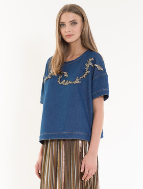 Denim-effect embroidered sweatshirt