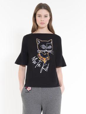 飾り付きコットン T シャツ