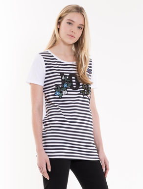 Printed tunic T-shirt with embroidery